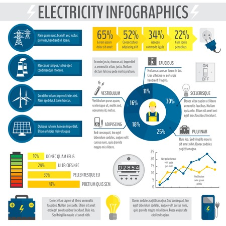 electricity meter: Electricity energy accumulator industry infographic template with charts graphs and diagrams vector illustration