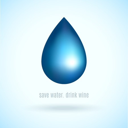 rain drop: Blue water rain natural drop in blue color in bright style vector illustration