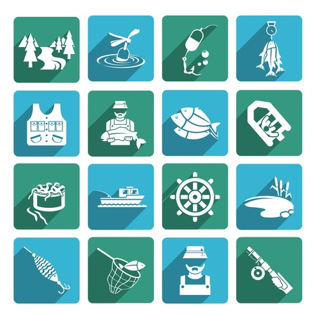sinker: Set of fish fisher hobby leisure white icons on blue and green squares isolated on white vector illustration Illustration