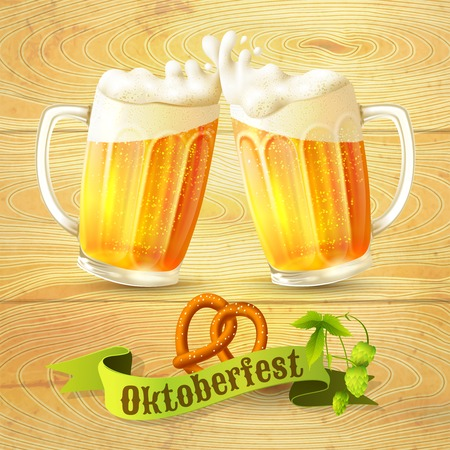 yellow ribbon: Glass mug of beer pretzel and hop branch on wooden background Octoberfest poster vector illustration Illustration