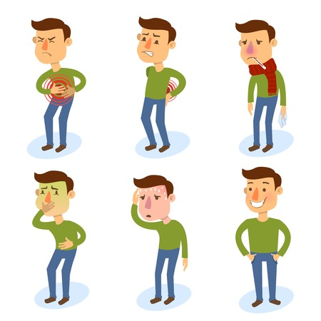 coughing: Sick characters set of people with pain and diseases isolated vector illustration.
