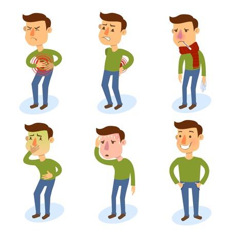 Zieke tekenset mensen met pijn en ziekten geïsoleerde vectorillustratie.