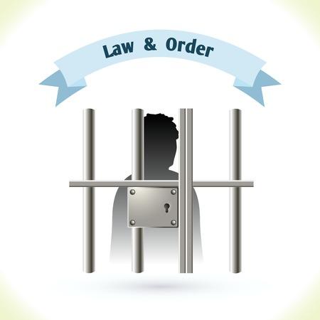 carcel: Icono de la Ley silueta preso en la c�rcel aislado en el fondo blanco ilustraci�n vectorial