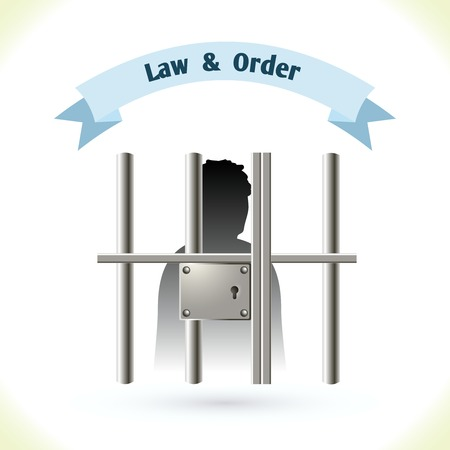 man in jail: Law icon prisoner silhouette in jail isolated on white background vector illustration