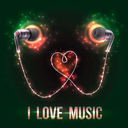 ear phones: Black headphones earplugs love music  dark background poster vector illustration Illustration