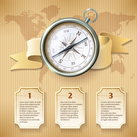 Antique retro style silver metal  compass on world map background travel infographics vector illustration Vector