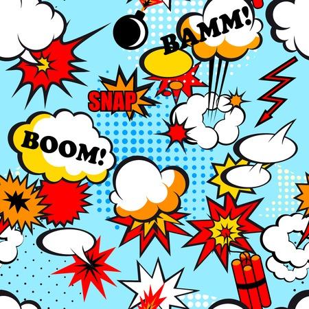Naadloze pop art achtergrond met komische speech bubbles vector illustratie