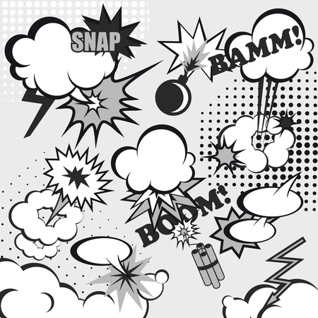snap: Comic book speech cloud set in gray color with boom snap words vector illustration
