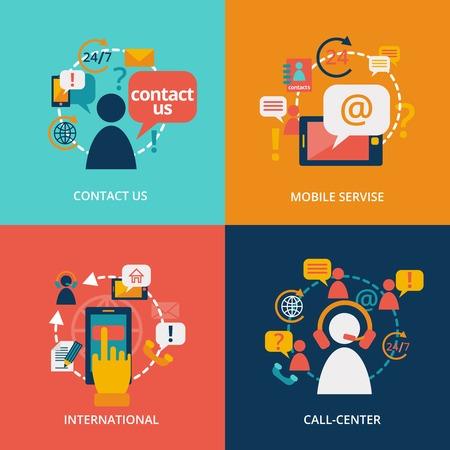 Neem contact met ons concept van platte zakelijke iconen set van adres callcenter klantendienst voor infographics ontwerp web-elementen vector illustratie