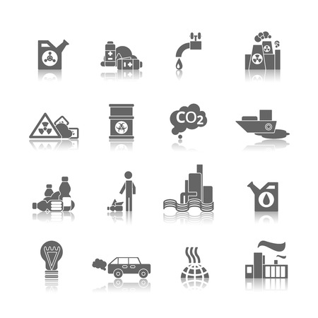 contaminacion aire: Plantas a�reas t�rmica y agua de alimentaci�n de productos qu�micos t�xicos de contaminaci�n peligrosa iconos abstractos negros conjunto aislado ilustraci�n vectorial
