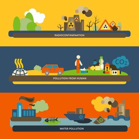 Actividades humanas radiactivos iconos de agua y la contaminación del aire peligrosos banners horizontales planas establecer composición aislada ilustración vectorial Foto de archivo - 31011026