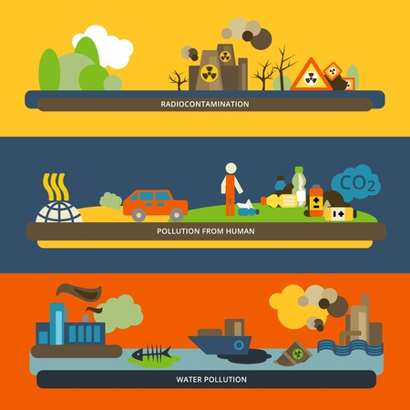 desechos toxicos: Actividades humanas radiactivos iconos de agua y la contaminación del aire peligrosos banners horizontales planas establecer composición aislada ilustración vectorial Vectores