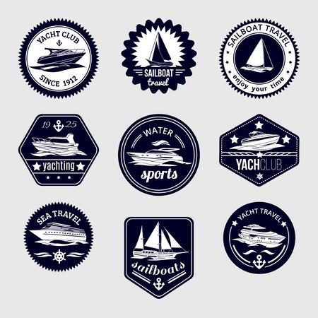 elite sport: Elite world water sport yacht club sailboat sea travel design labels set black icons isolated vector illustration Illustration