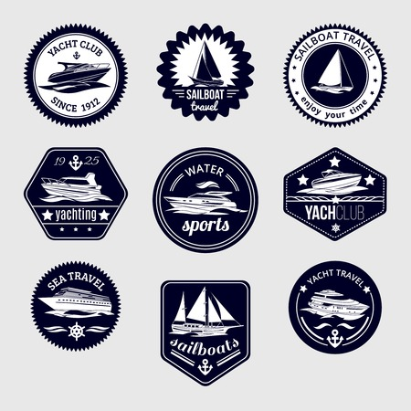 Elite world water sport yacht club sailboat sea travel design labels set black icons isolated vector illustration Illustration