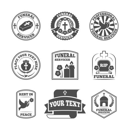 decorative urn: Funeral home undertaking ceremonial service fill in templates labels set with coffin candle pigeon vector isolated illustration