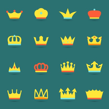 king crown: Ornamental imperial classical monarch emperor knight crowns emblems heraldic elements avatar collection flat abstract isolated vector illustration Illustration