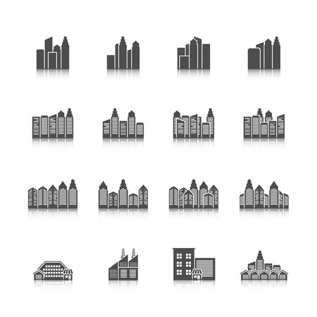 edifice: Modern residential urban settlement street buildings and industrial office edifice cityscape black isolated icons set vector illustration