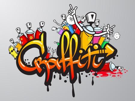 Graffiti letras decorativos de pulverización de pintura de arte y personajes composición de aerosol pared abstracta ilustración boceto grunge vector Foto de archivo - 31011084