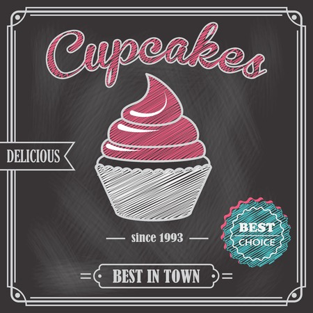 blackboard cartoon: Sweet food dessert cupcake on cafe chalkboard poster vector illustration