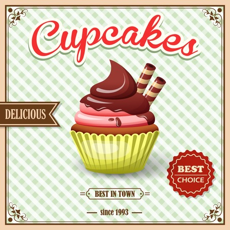 cup cakes: Sweet food dessert cupcake on cafe retro poster with squared background vector illustration. Illustration