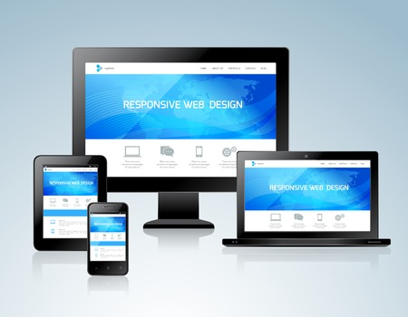 Responsive websites design for computers tablets and mobile phones concept icon vector illustration Vector