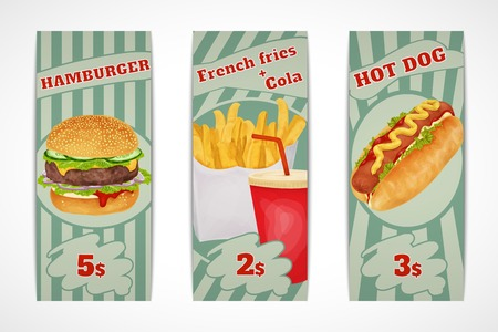 Fast food banners set with hamburger French fries cola and hot dog isolated vector illustration. Vector
