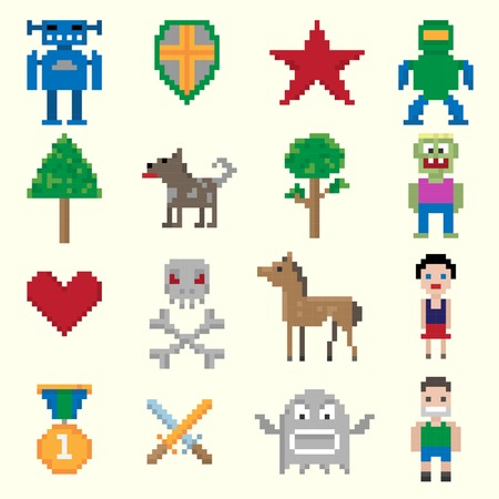 users video: Video game cartoon pixel characters icons set isolated vector illustration
