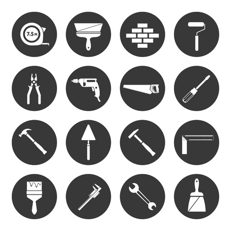 hand wrench: Builder and construction industry instrument assortment black icons set isolated vector illustration