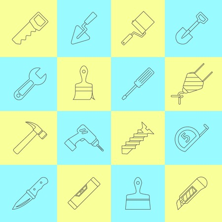 electric drill: Home repair tools outline icons set with names saw roller crane shovel trowel abstract isolated vector illustration