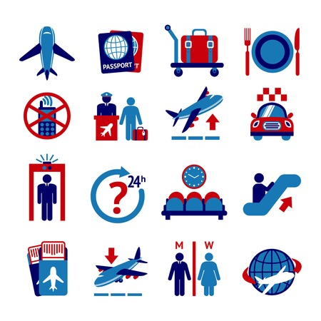 button icons: Airport travel button icons set with plane security check baggage control isolated vector illustration