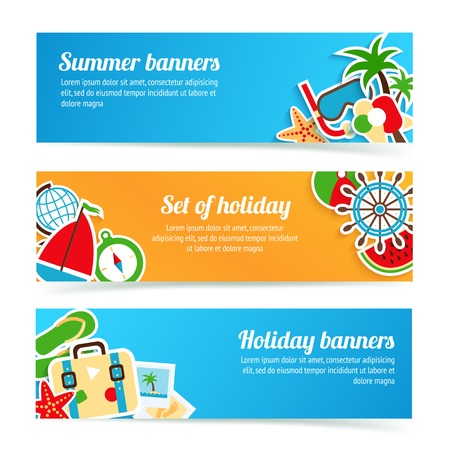假日夏日海滩度假旅游横幅集孤立矢量插图