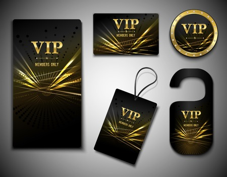Vip members only premium golden exclusive cards set isolated vector illustration