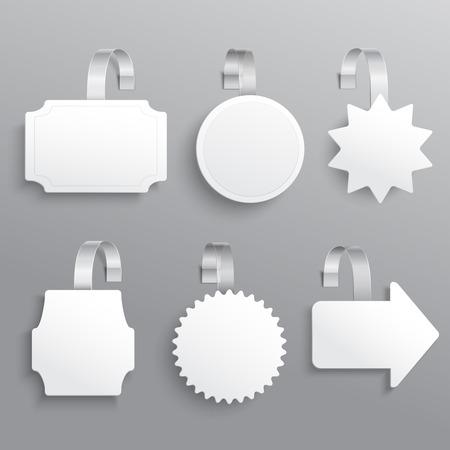 wobbler: White advertising sale hanging wobbler set isolated vector illustration