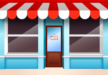 awning: Store shop front window with empty shelves vector illustration