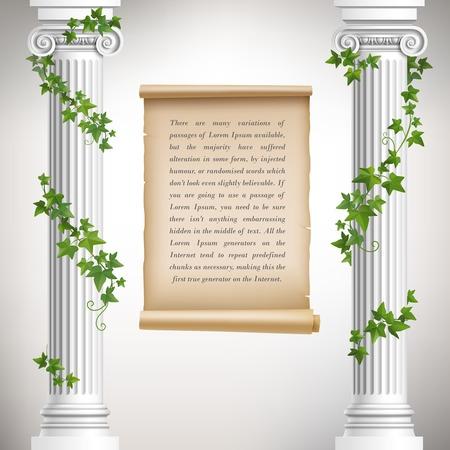 zuilen: Antieke Griekse kolommen met wijnstokken en vintage schuif poster vector illustratie