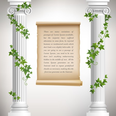 columns: Antique greek columns with vine and vintage scroll poster vector illustration