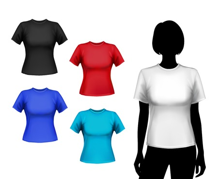 body silhouette: Colored round neck t-shirts female set with woman silhouette isolated vector illustration