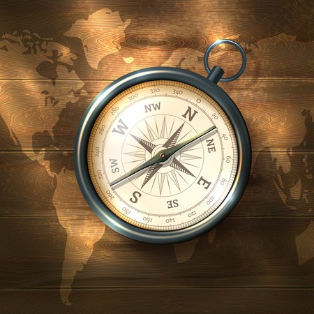 Antique retro style black compass on world map wooden background vector illustration