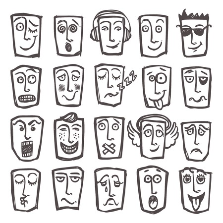 Sketch emoticons man head face expressions icons set isolated vector illustration Vector
