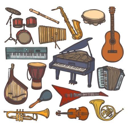 pandero: Instrumentos musicales del icono del bosquejo color conjunto con xilófono aislado trompeta flauta ilustración vectorial
