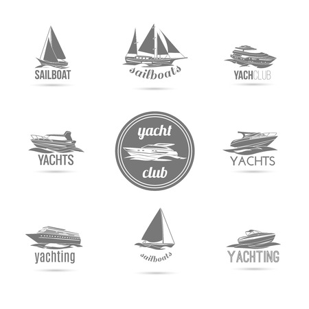Ocean marine yacht club sail and speed motor boats black silhouettes graphic sketch emblems isolated vector illustration Illustration