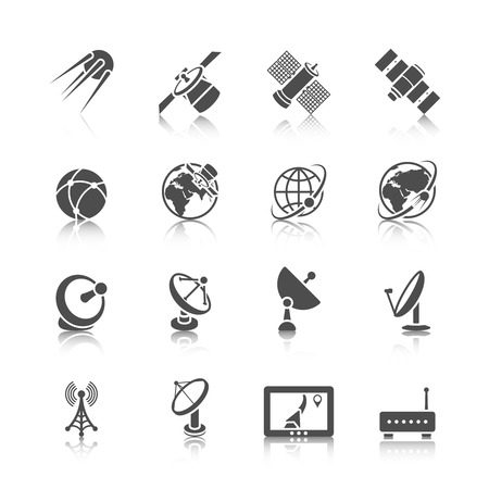 space station: Earth orbit space station and satellite dish digital receiver communication icons set black abstract isolated vector illustration