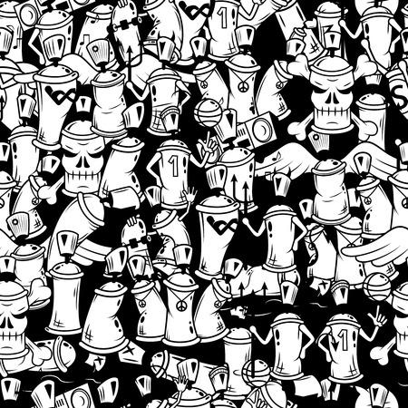 지하철 및 지하 벽 스케치 그런 지 벡터 일러스트 레이 션 낙서 검정 그래픽 스프레이 캔 만화 캐릭터 구성