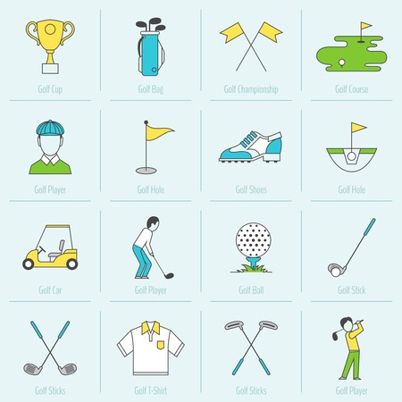computer clubs: Golf cup bag championship course flat line icons set isolated vector illustration