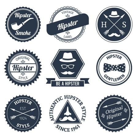 Hipster smoke original authentic style labels set isolated vector illustration Vector