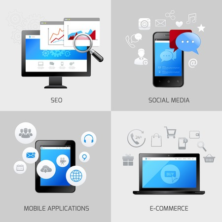 SEO web mobile concepts social media application e-commerce icons set isolated vector illustration Vector