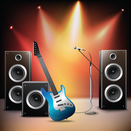 Rock music illuminated stage background with microphone electric guitar and speakers vector illustration.