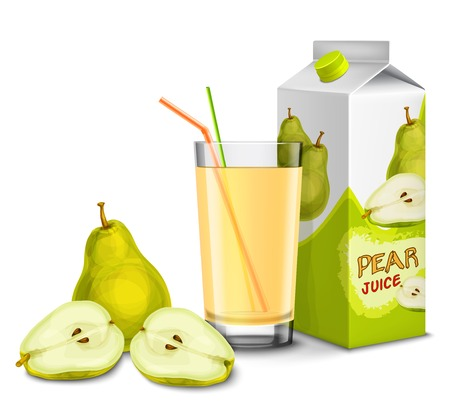Realistic pear juice glass with cocktail straw and paper pack isolated on white background vector illustration