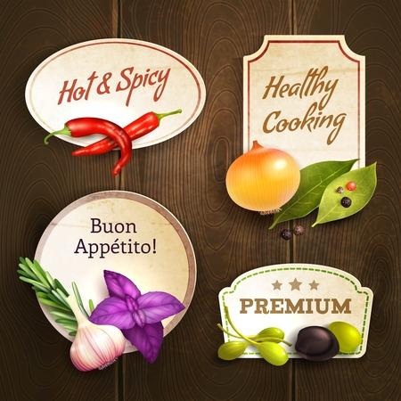 Herbes et épices réalistes décoratifs badges de cuisine mis sur fond isolé en bois illustration vectorielle Banque d'images - 31011341