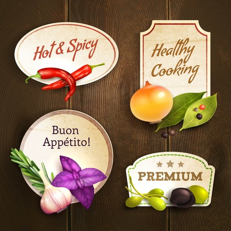 wooden sign: Realistic herbs and spices decorative kitchen badges set on wooden background isolated vector illustration